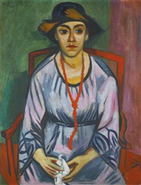 das blaue kleid: bildnis frau dr. plietzsch (the blue dress: portrait of dr. plietzsch) by max pechstein