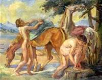 nackte junge mädchen mit pferden by franz reinhardt the elder
