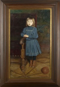portrait of a young girl in a blue dress leaning against a chair by aleksander augustynowicz