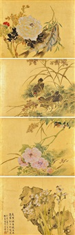 flower and birds (+ 3 others; set of 4) by luo anxian
