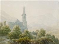 berglandschaft mit kirche (+ ponte nomentano in der römischen campagna, smllr; 2 works) by eduard karl biermann