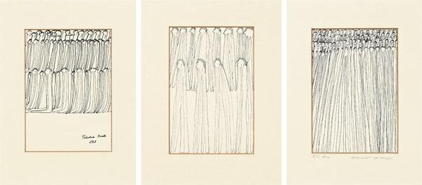 konvolut 3 zeichnungen by oswald tschirtner