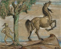 taming the horse (+ woman with unicorn; pair) by charles roelofsz
