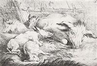 schweine am weiher, pl. 4 (+ sau mit ferkeln an einem tümpel, pl. 5; 2 works) by friedrich müller