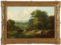 figures resting in a landscape, with cattle by a pond by john joseph (of bath) barker