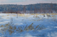 wolves in a winter landscape by douglas anderson