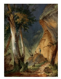 landskap med figurer vid en trappa vid en bergspassage by per gustaf von heideken