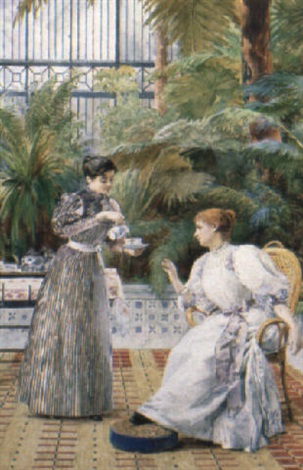 Tea on the verandah by Louis Emile Adan on artnet