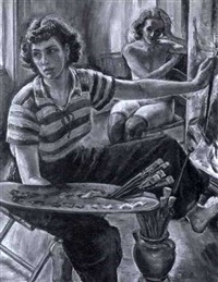 self portrait with model by miriam tindall smith