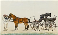 a phaeton carriage drawn by two horses, grooms holding the reins by muhammad amir