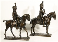 hussars on horseback (pair) by pierre nicolas turgenov