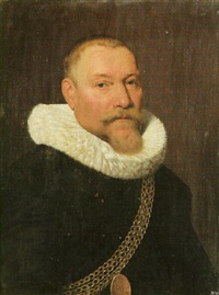 portrait of a gentleman wearing black and a gold chain of office by jan daemen cool