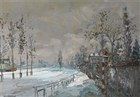 canal de l'ourcq in the winter by alexis guy korovin