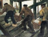 vissers op weg naar de visafslag (oostende) by jean van cleemput