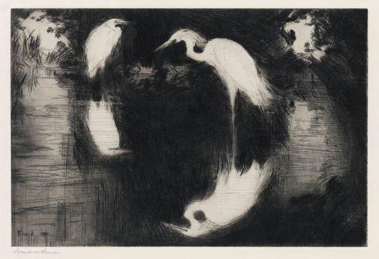 blackbirds and rushes * summer yellowlegs * dark pool (3 works, various sizes) by frank weston benson