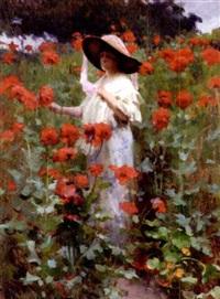 jeunne femme dans les fleurs by alexandre françois bonnardel