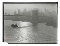 tug and barge, east river (from downtown new york) by consuelo kanaga