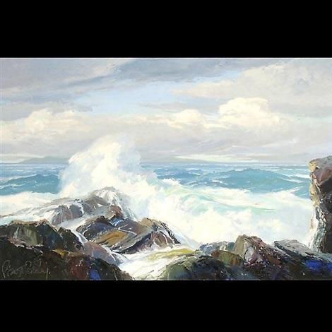 Seascape waves crashing on rocks by bennett bradbury on artnet