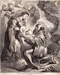 ein heiliger empfängt das jesuskind aus den armen der gottesmutter (after peter paul rubens) by cornelis visscher