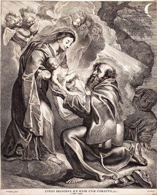 ein heiliger empfängt das jesuskind aus den armen der gottesmutter after peter paul rubens by cornelis visscher