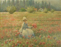 a woman picking flowers in a meadow by janus halapy