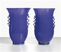 in corpo vases (pair) by murano