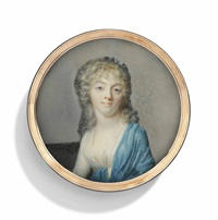 maria elisabeth baelde (1775-1843), seated, in white dress with blue shawl draped over her left shoulder, gold chains entwined in her curling fair hair by jean baptiste jacques augustin
