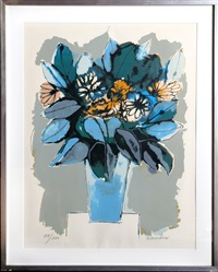 blue flowers by oswaldo guayasamín