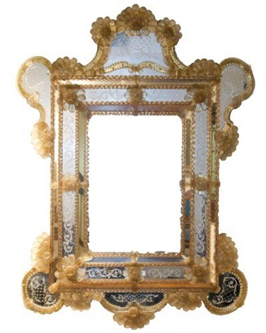venetian blown etched glass mirror early 20th c