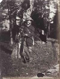chasseur appuyé contre un arbre, personnages devant une maison bourgeoise (2 works) by charles nègre