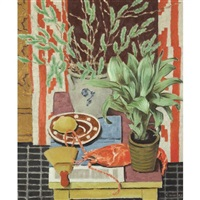 a still life with plants, a lobster and a lemon by russell cowles