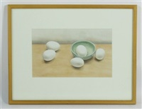 still life of eggs in bowl by rebecca fagg