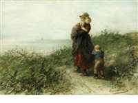 mother and two young children on a coastal path, looking out to sea by elchanon verveer