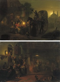 dancing in the tavern (+ outside the tavern; pair) by jan hendrik van grootvelt
