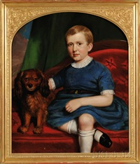 portrait of a boy in blue seated beside his dog on a red upholstered sofa by joseph greenleaf cole