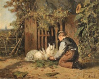 young boy feeding rabbits by sipke (cornelis) kool