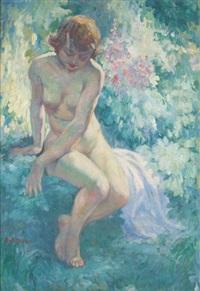 jeune fille nue au jardin by antoine daens