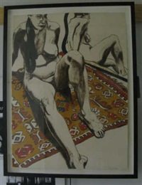 figure seated on rug with mirror (from six lithographs drawn from life) by philip pearlstein
