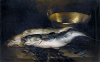 stillleben mit zwei weissfischen by raymond allègre