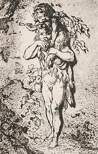 kleiner satyr mit panskind auf den schultern (+ der faun mit seinen kindern; 2 works) by friedrich müller