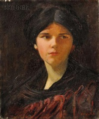 portrait of a young lady (the artist's daughter?) by douglas volk