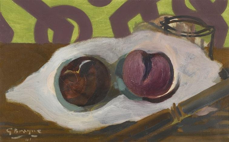 verre, pommes, couteau by georges braque
