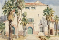 view of a mission revival style home/a california landscape by mary j. coulter