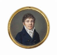 a young gentleman, in blue coat with gold buttons, white waistcoat and filled cravat, curling brown hair by pierre louis bouvier
