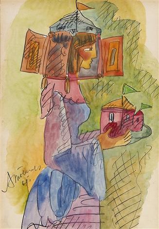 kvinna med fantasihatt by aleksandr grigorevich tyshler
