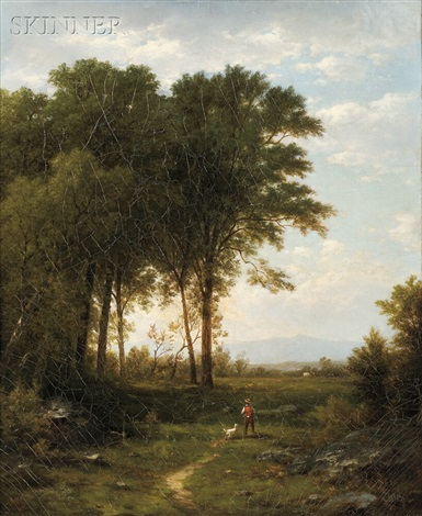 sportsman and dog in a landscape by john william casilear