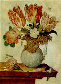 tulips, forget-me-nots, peonies and other flowers in a vase on a ledge by jan baptist fornenburgh