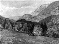 herbstliche gebirgslandschaft by ludwig bolgiano