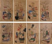 minwha scholar's utensils (8 works) by anonymous-korean
