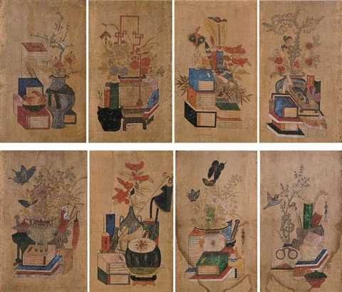 minwha scholar's utensils (8 works) by anonymous-korean